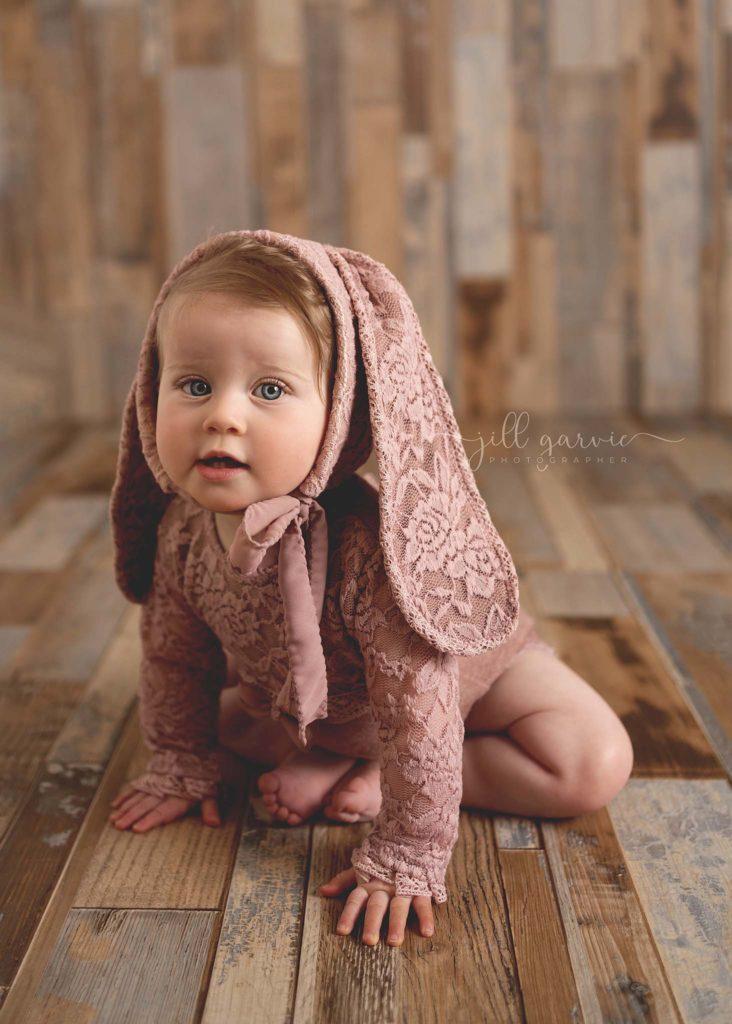 Photograph of baby girl 8 months old taken at Jill Garvie Photography studio Edinburgh
