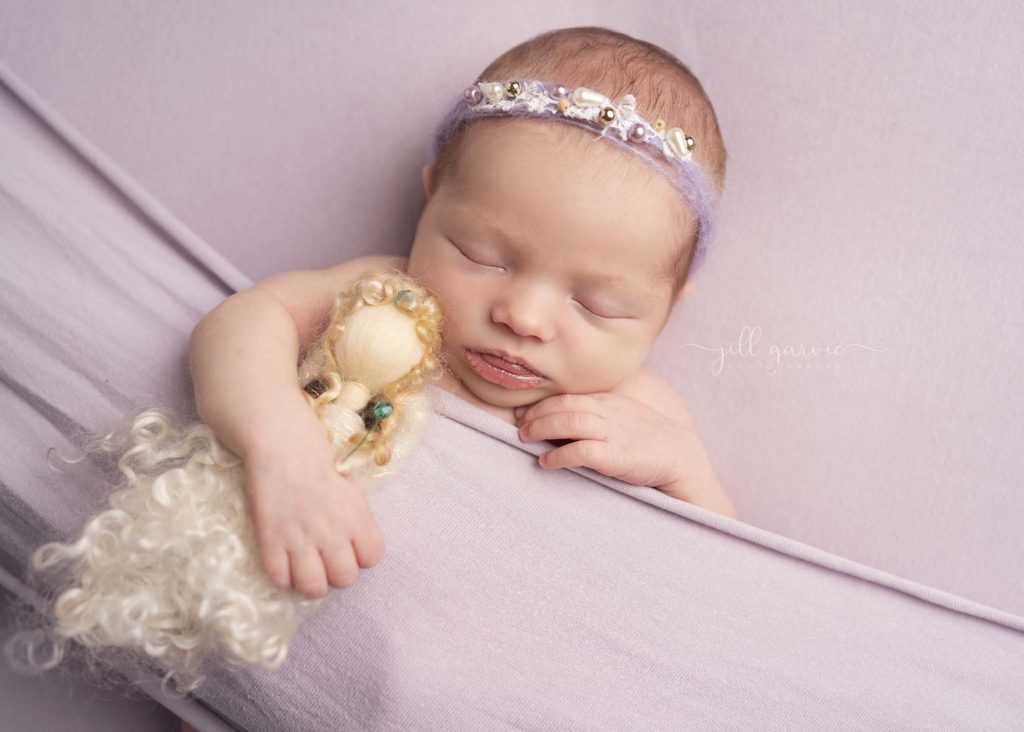 Photograph of Newborn baby girl taken at Jill Garvie Photography studio in Musselburgh.