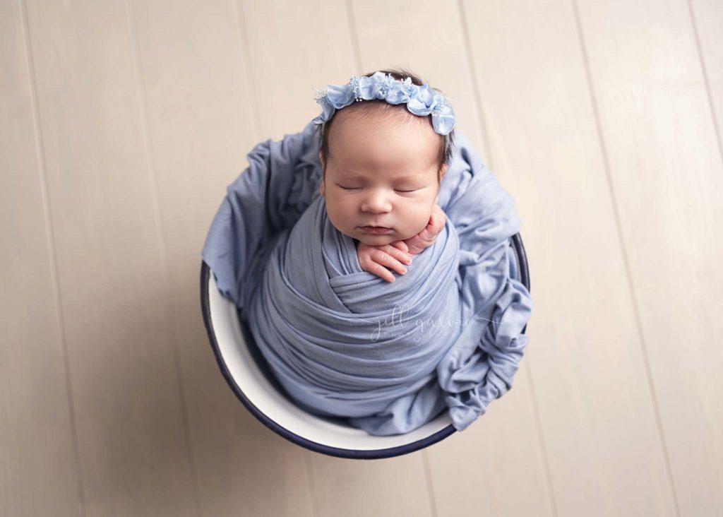 Photograph of Newborn baby girl taken at Jill Garvie Photography studio in Edinburgh.